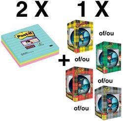 2x Super Sticky Notes, 70 memoblaadjes, pak van 3 blok (ref. 675SSMI) + GRATIS  kerstbal (ref. KERSTBA)