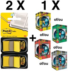 2 x index, blister van 2 stuks, geel (ref. 6802YEL) + GRATIS kerstbal (ref. KERSTBA)