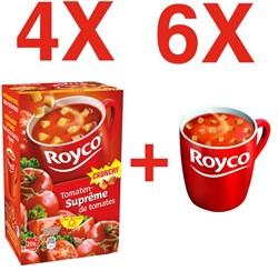 Actie Royco: 4 x Royco Soep tomatensuprême + 6 tassen GRATIS (ref. ROYTAS)