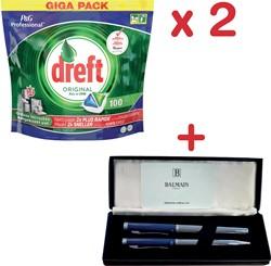 Actie Dreft: 2 x Dreft vaatwas Original (pak van 100 tab) + 1 x pennenset Balmain GRATIS
