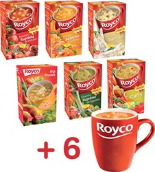 Actie Royco: 6 x verschillende smaken soep + 6 x Royco Tassen GRATIS
