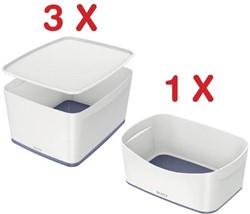 Leitz MyBox 3 x opbergdoos met groot deksel, wit (5216101) + 1 x opbergtray, wit (5257101) GRATIS