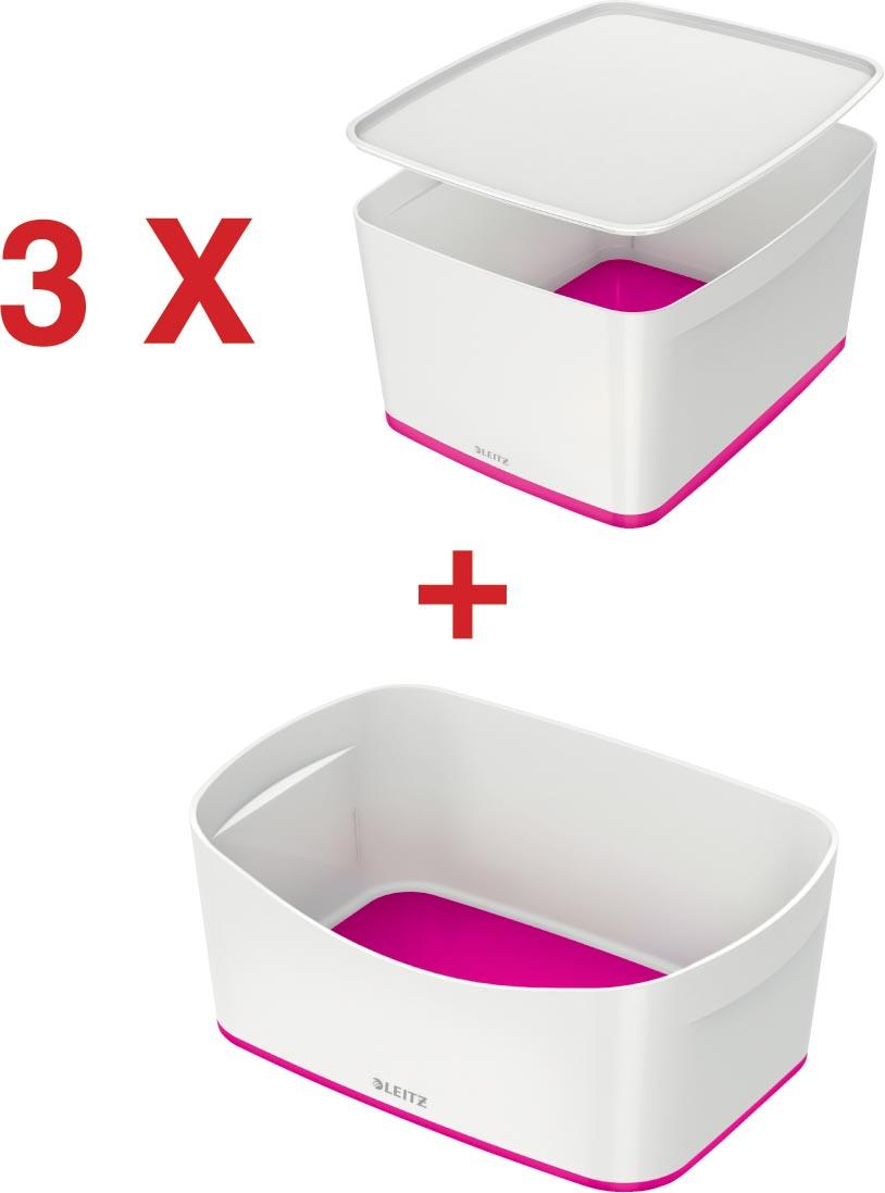 Leitz MyBox 3 x opbergdoos met groot deksel, roze (5216123) + 1 x opbergtray, roze (5257123) GRATIS