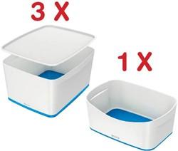 Leitz MyBox 3 x opbergdoos met groot deksel, blauw (5216136) + 1 x opbergtray, blauw (5257136) GRATIS