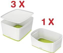 Leitz MyBox 3 x opbergdoos met groot deksel, groen (5216164) + 1 x opbergtray, groen (5257164) GRATIS