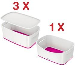 Leitz MyBox 3 x opbergdoos met klein deksel, roze (5229123) + 1 x opbergtray, roze (5257123) GRATIS