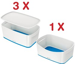 Leitz MyBox 3 x opbergdoos met klein deksel, blauw (5229136) + 1 x opbergtray, blauw (5257136) GRATIS