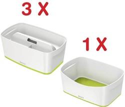 Leitz MyBox 3 x opbergdoos met klein deksel, groen (5229164) + 1 x opbergtray, groen (5257164) GRATIS