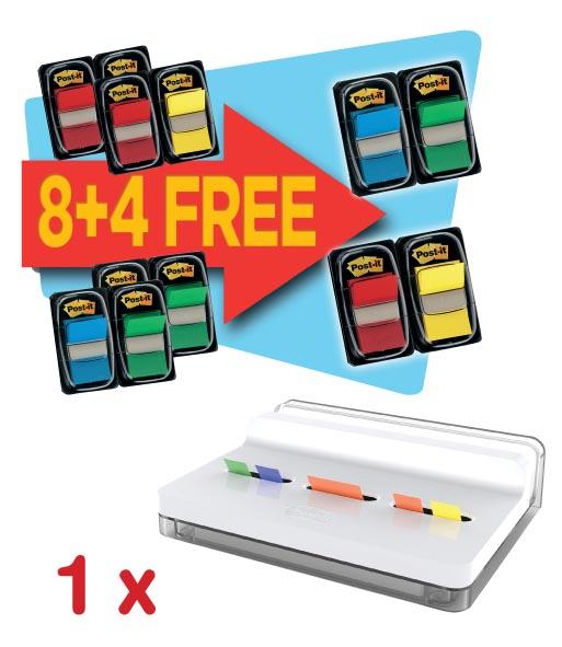 Actie Post-It: 1 x index Standaard voordeelpak 8 + 4 gratis, geassorteerd + GRATIS index Slide dispenser