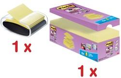 Actie Post-It: Z-notes voordeelpak geel, 14 + 6 gratis + GRATIS 1 x Z-notes dispenser pro