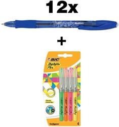 Actie Bic: 12 x Gel-ocity Illusion blauw + 1 blister Highlighter Flex gratis