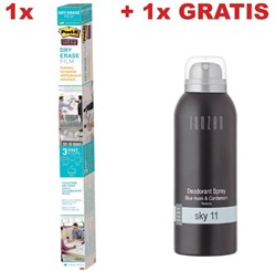 Actie Post-it whiteboardfolie Dry Erase 0,91 x 1,22 cm + gratis deo spray Janzen