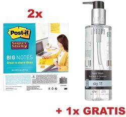 Actie Post-It: 2 x big notes, 28 x 28 cm, geel (ref BN11) + GRATIS 1 x handzeep Sky 11 (ref JHWSKY1)