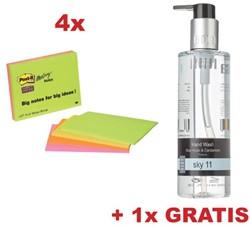 ctie Post-It: Meeting Notes, ft 98,4 x 149 mm, 4 blokken (64454SS) + GRATIS 1x handzeep SKY 11 (JHWSKY1)