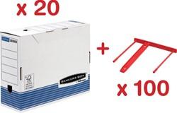 Actie Bankers Box: 20 x archiefdoos A4 (0026501) + GRATIS 1 x archiefbinder rood, doos van 100 (0089602)