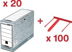Actie Bankers Box: 20 x archiefdoos (10805BB) + GRATIS 1 x archiefbinder rood, doos van 100 (0089602)
