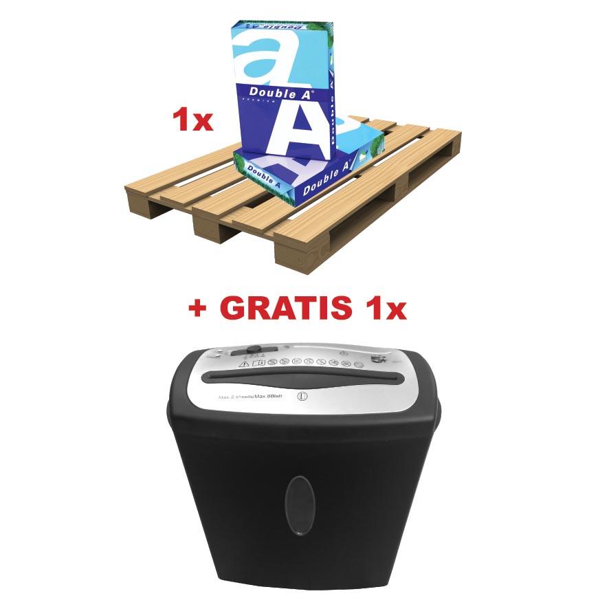 Double A actie ABD3, 1 pallet printpapier Premium(ref. D1022)+ GRATIS 1 x papiervernietiger (ref. 96