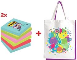 Actie Post-it: 2 x Super Sticky notes Miami, 76 x 76 mm, 90vel, pak van 6 blokken + GRATIS 1 x canvas tas