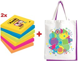 Actie Post-it: 2 x Super Sticky notes Rio, 76 x 76 mm, 90 vel, pak van 6 blokken + GRATIS 1 x canvas tas