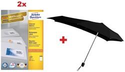 Actie Avery: 2 x 3478 universele etiketten ft 210 x 297 mm, 100 etiketten, wit + 1 x GRATIS Senz paraplu