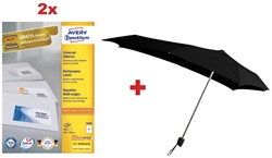 Actie Avery: 2 x 3483 universele etiketten ft 105 x 148 mm, 400 etiketten, wit + 1 x GRATIS Senz paraplu