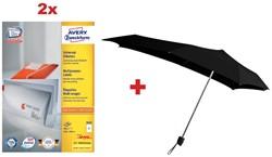 Actie Avery: 2 x 3655 universele etiketten ft 210 x 148 mm, 200 etiketten, wit + 1 x GRATIS Senz paraplu