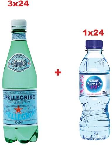 3xS.Pelligrino Fles 50cl,pak 24 stuks ref.53665+Gratis 1xNestlé Pure Life 33cl, pak 24 stuks ref.53817
