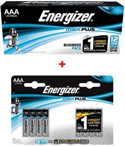 1x Energizer MaxPlus AAA Batterijen PK20 ref. 2317400 + GRATIS 1 x blister van 8 ref. 2313600