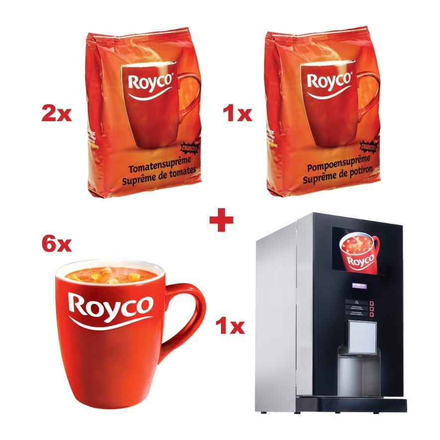 Royco actie: 2 x ref. 08145+1xref048139+GRATIS 6xmokken(ref.ROYTAS)+GRATIS Royco-automaat(ref. ROYVEND)