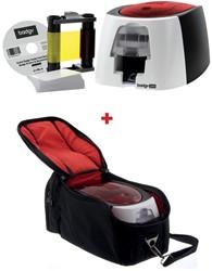 1 x Badgy Badgeprinter 200 Evolis ref. BDG200 + GRATIS 1 x Reistas zwart/rood Badgy 100/200 ref. A5311