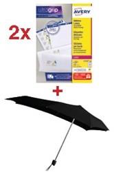 Actie Avery: 2 x adresetiketten ft 63,5 x 33,9 mm, 2.400 etiketten, wit (L7159) + GRATIS 1 x Senz paraplu