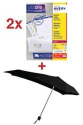 Actie Avery: 2 x adresetiketten ft 63,5 x 38,1 mm, 2.100 etiketten, wit (L7160) + GRATIS 1 x Senz paraplu