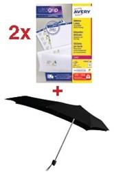 Actie Avery: 2 x adresetiketten ft 99,1 x 33,9 mm, 1.600 etiketten, wit (L7162) + GRATIS 1 x Senz paraplu
