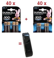 Actie Duracell: 40 x Ultra Power AA, 4 stuks + 40 x Ultra Power AAA, 4 stuks + GRATIS 1x Activity Tracker