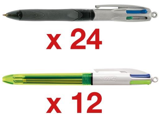 Afbeelding van Actie BIC: 24 x balpen 4 Colours Grip Pro (ref. 887137) + 12 x balpen 4 Colours Fluo (ref. 933948)
