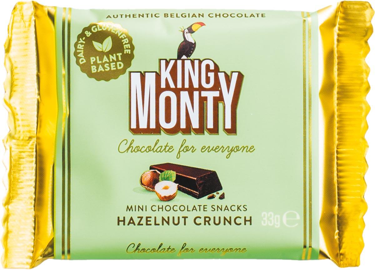 King Monty chocolade, Hazelnut Crunch, snack van 33 g, pak van 12 stuks