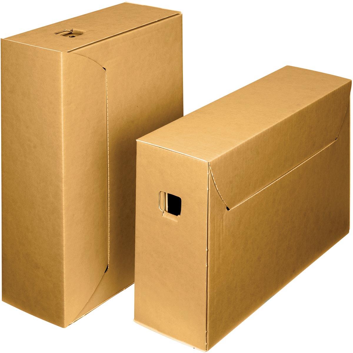 Loeff's archiefdoos City box 10+, ft 390 x 260 x 115 mm, bruin/wit, pak van 50 stuks