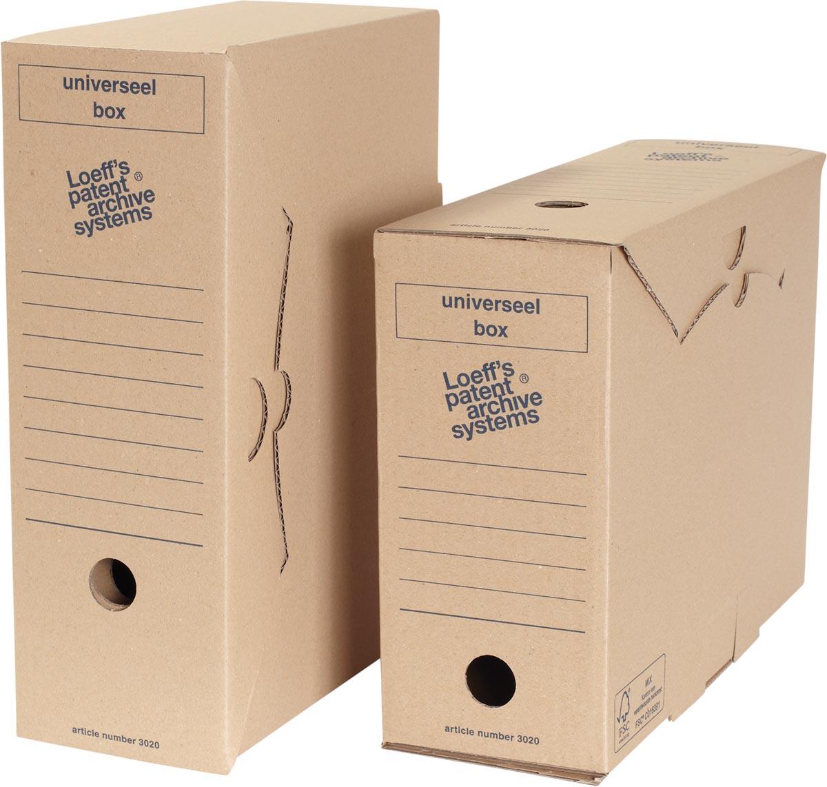 Loeff's archiefdoos Universeel box, golfkarton, bruin, pak van 8 stuks