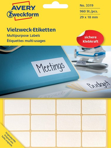Avery Zweckform 3319 mini etiketten ft 29 x 18 mm (b x h), 960 etiketten, wit
