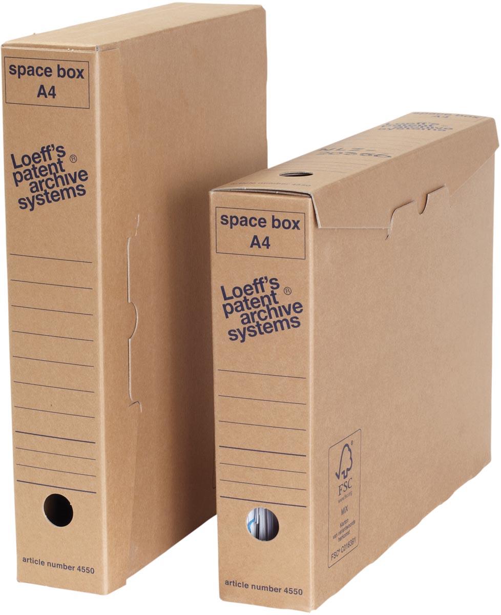 Loeff's archiefdoos Space box, ft 320 x 240 x 60 mm, bruin, pak van 8 stuks