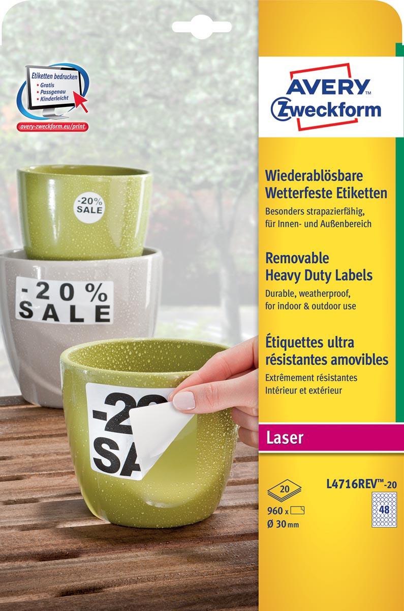 Avery afneembare weerbestendige etiketten diameter 30 mm,wit, doos van 960 etiketten