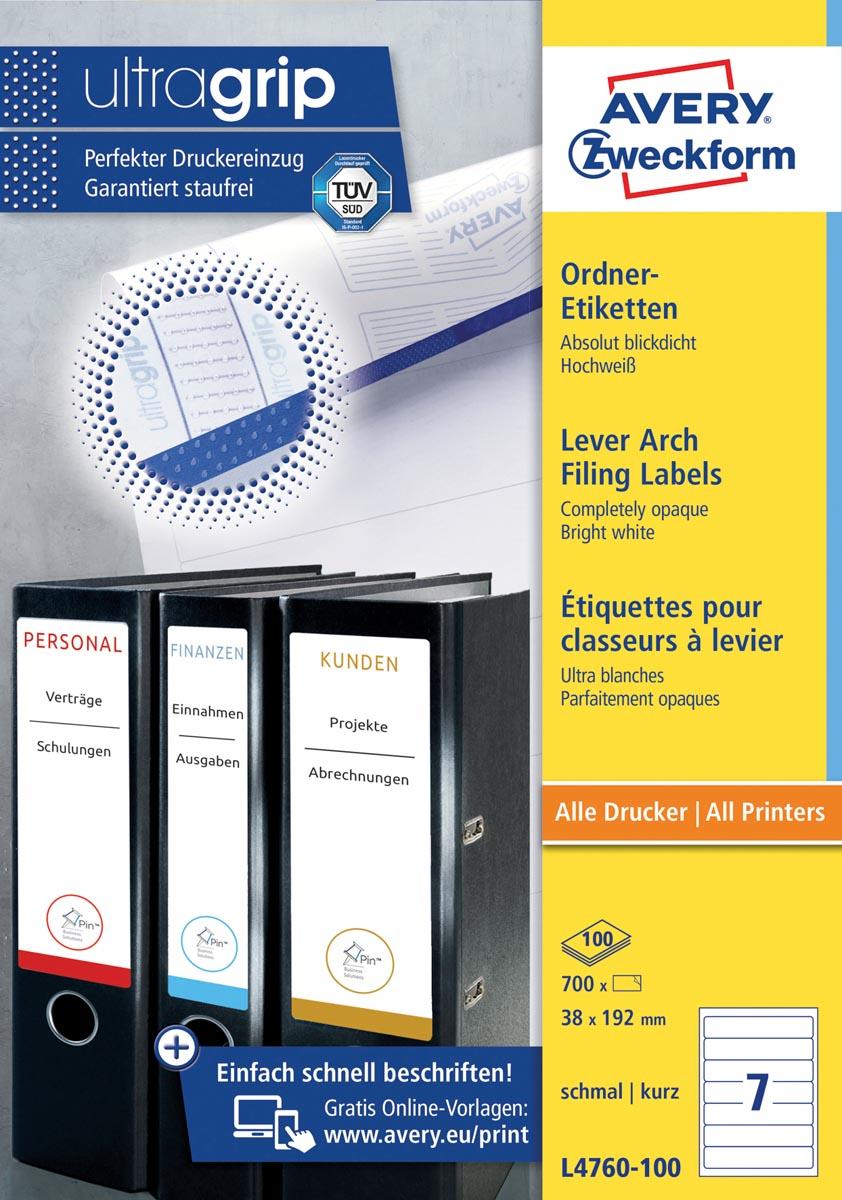Avery Zweckformft L4760-100 ordnerrugetiketten ft 192 x 38 mm (b x h), 700 etiketten, wit