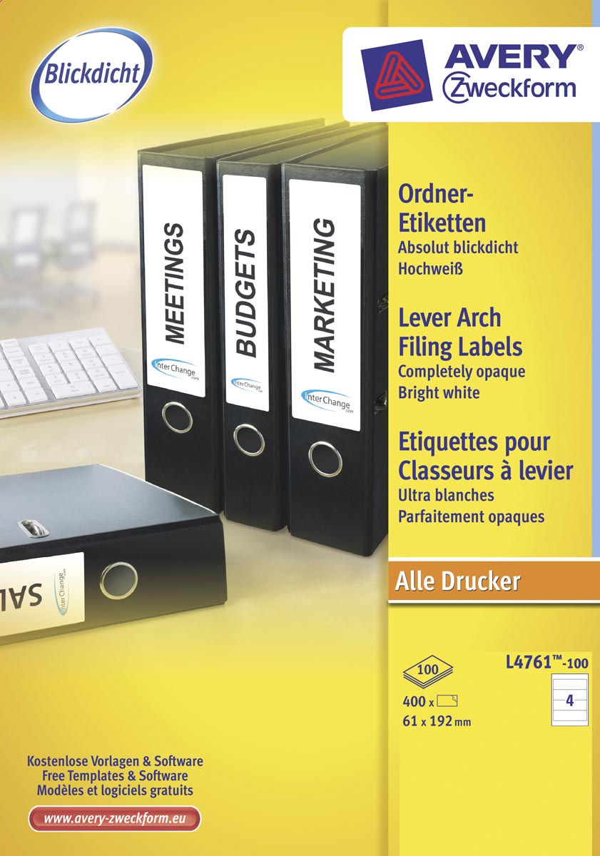 Avery Zweckform L4761-100 ordnerrugetiketten ft 19,2 x 6,1 cm (b x h), 400 etiketten, wit