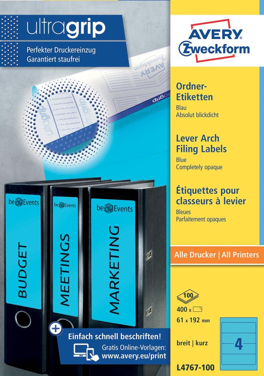 Avery Zweckform L4767-100 ordnerrugetiketten ft 19,2 x 6,1 cm (b x h), 400 etiketten, blauw