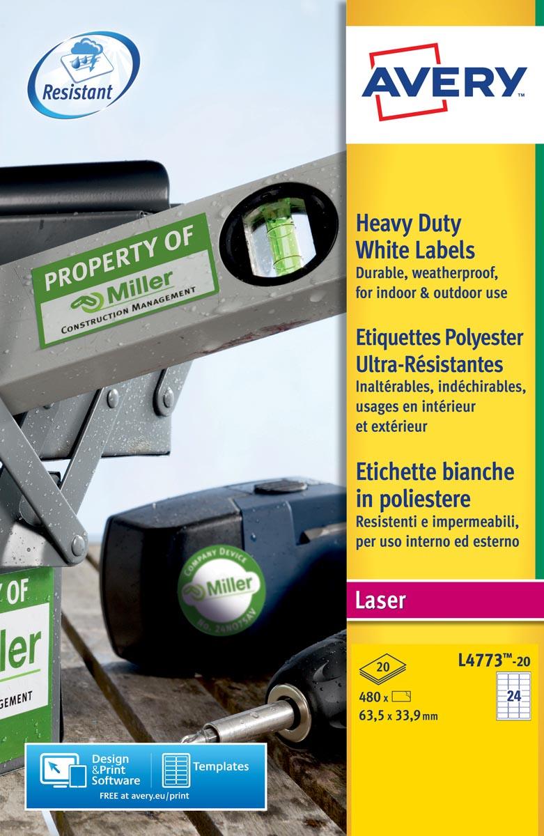 Avery ultra-sterke witte etiketten ft 63,5 x 33,9 mm (b x h), 480 stuks, 24 per blad