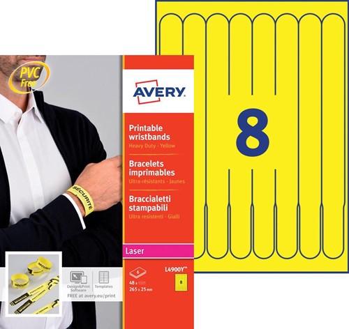 Bedrukbare polsbandjes voor de (kleuren-) laserprinter, kleur geel, pak van 48 stuks-2