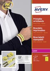 Bedrukbare polsbandjes voor de (kleuren-) laserprinter, kleur geel, pak van 48 stuks