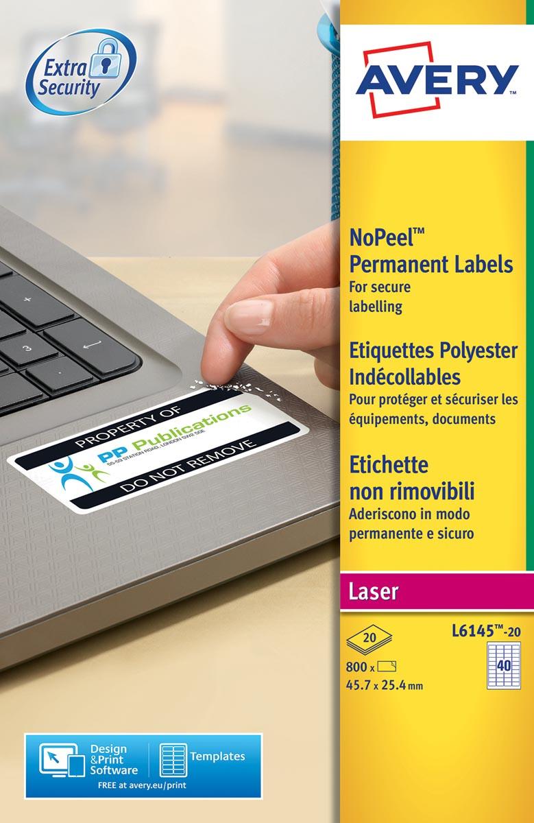 Avery L6145-20 NoPeel etiketten ft 45,7 x 25,4 mm (b x h), 800 etiketten, wit