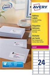 Avery etiketten QuickPEEL  ft 63,5 x 33,9 mm (b x h), 6.000 stuks, 24 per blad