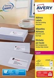 Avery witte laseretiketten QuickPeel doos van 100 blad ft 63,5 x 33,9 mm (b x h), 2400 stuks, 24 per blad